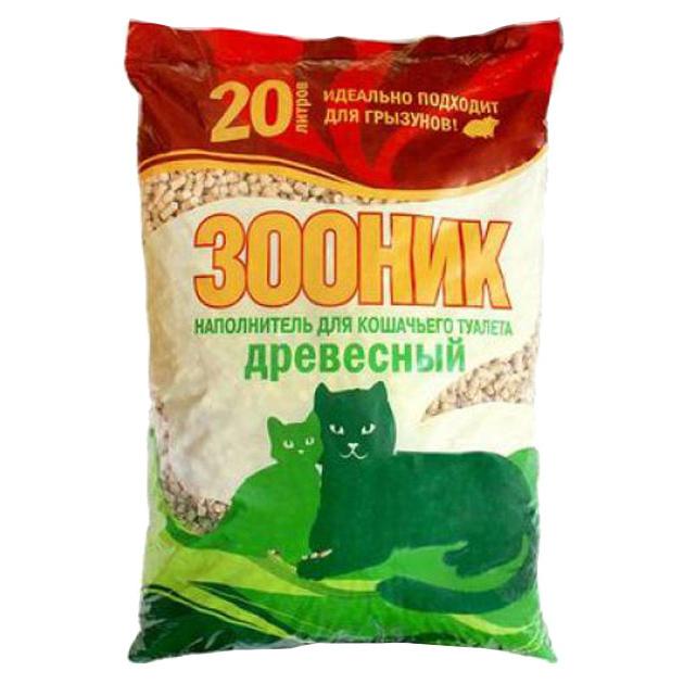 Впитывающий наполнитель для кошек Зооник древесный, 13 кг, 20 л фото