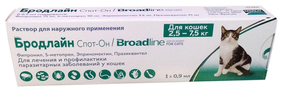 Капли для кошек против паразитов Merial Бродлайн,