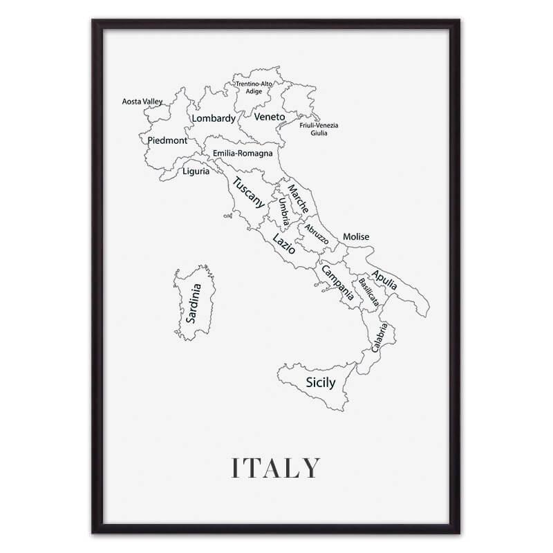 Постер в рамке Карта Италии 30х40 см