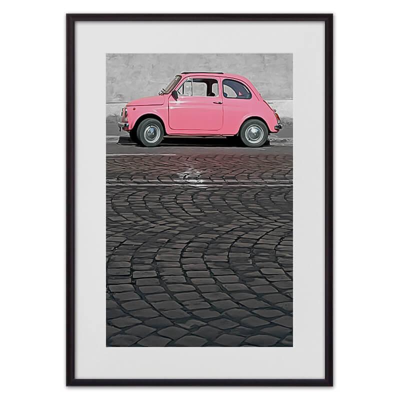 Постер в рамке Розовый автомобиль 40х60 см
