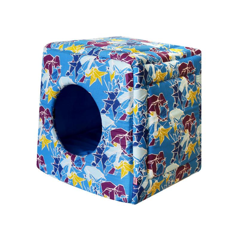 Домик для кошек и собак ZooExpress Оригами куб-трансформер, лазурный, 50x50x48см