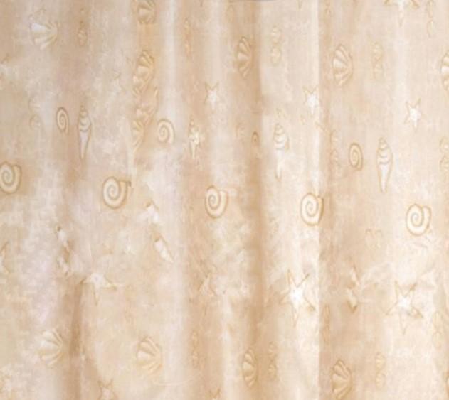 Штора для ванной Вилина Ракушки 180x220см, полиэстер, бежевая, 14 колец, 1499-1