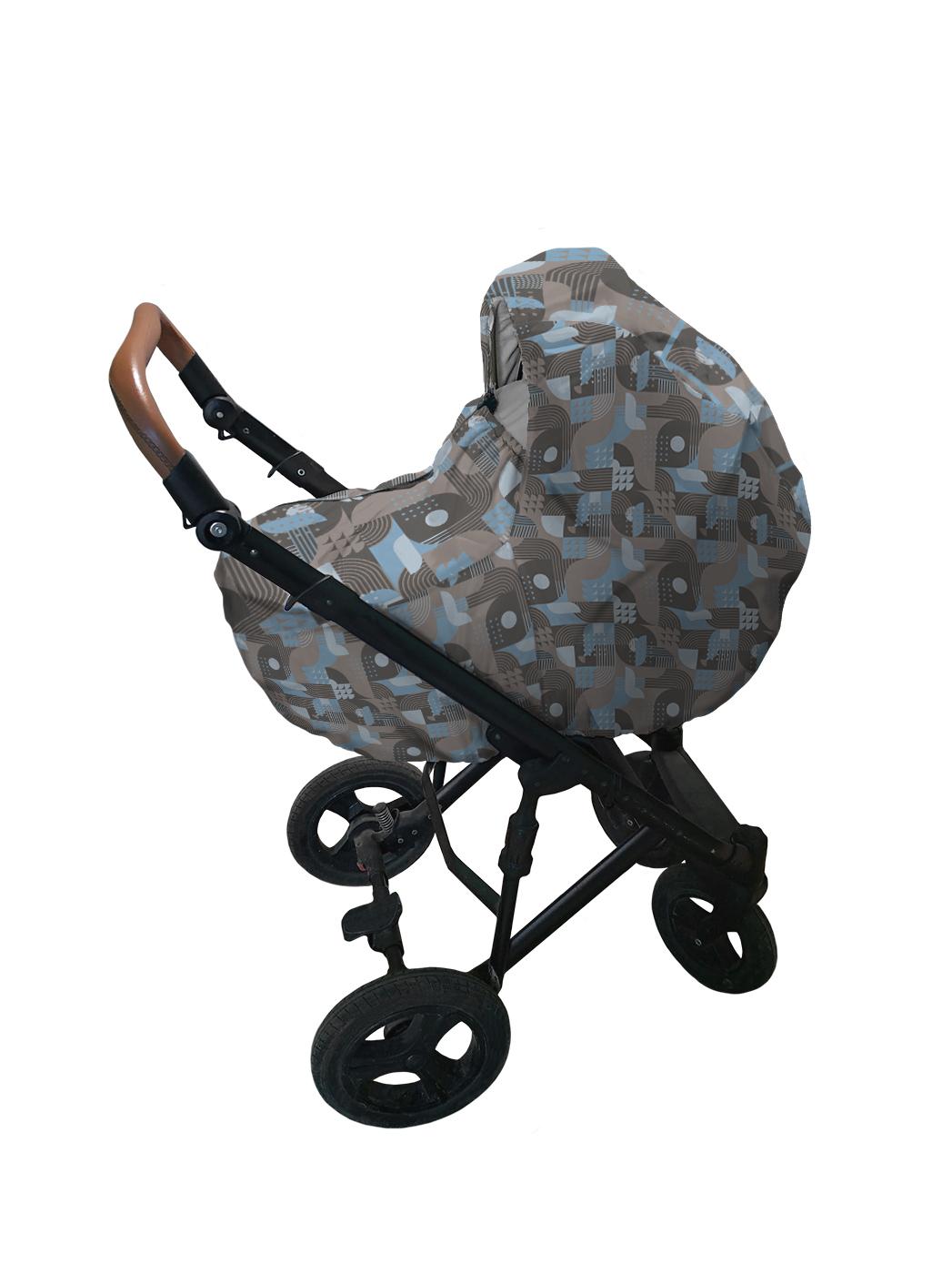 Чехол дождевик на коляску Геометрический дизайн sfer.tex