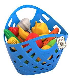 Купить Набор Фрукты, овощи , Набор НОРДПЛАСТ фрукты, овощи 13 шт. в плетеной корзинке, Игрушечные продукты