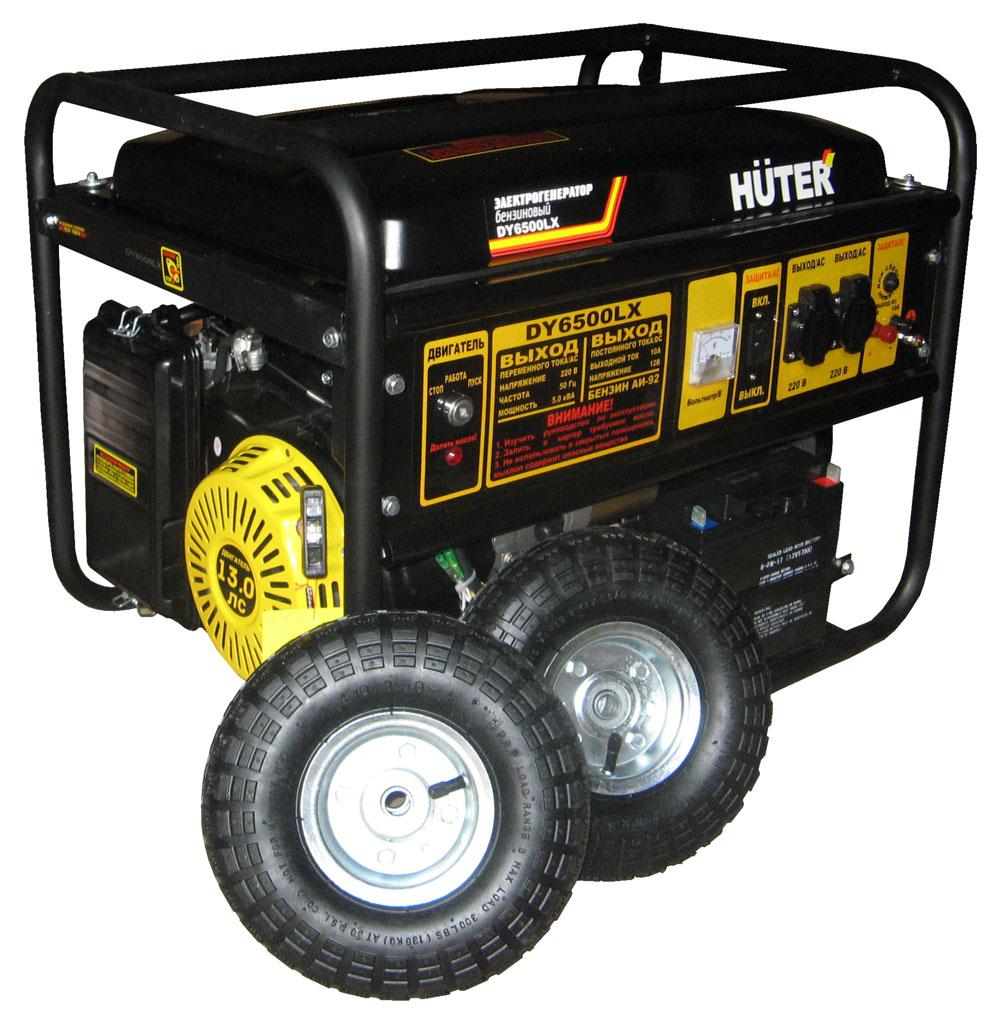 Бензиновый генератор HUTER DY6500LX с колёсами и аккумулятором фото