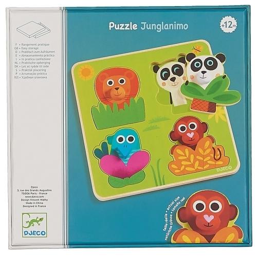 Купить Деревянная рамка-вкладыш DJECO Джунгланимо, 1033, Развивающие игрушки