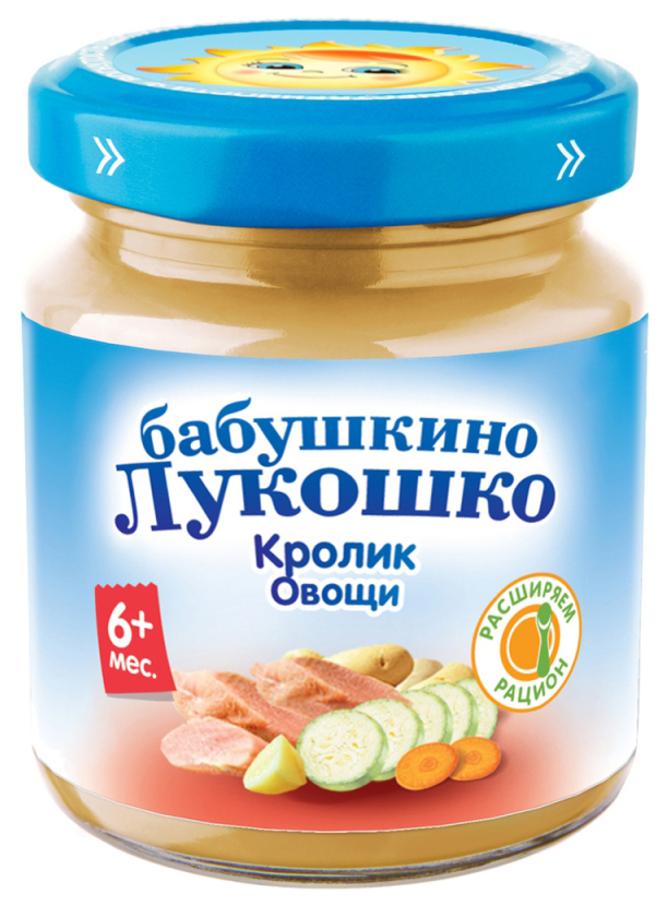 Купить Кролик овощи 100 г, Пюре мясное Бабушкино Лукошко Кролик Овощи с 6 мес 100 г, Детское пюре