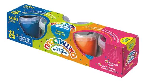 Купить Тесто для лепки Пластишка Набор № 5 4 цвета Lori Тдл-008, Лепка