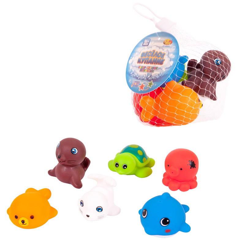 Купить Набор ABtoys резиновых морских обитателей для ванной Веселое купание, 6 предметов, Игрушки для купания малыша