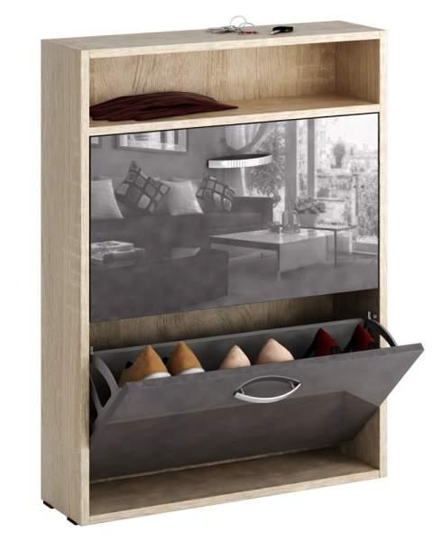 Обувница MFMaster Милан-25 МСТ-ОДМ-25У 60х17х88,2 см, дуб сонома/серый глянец