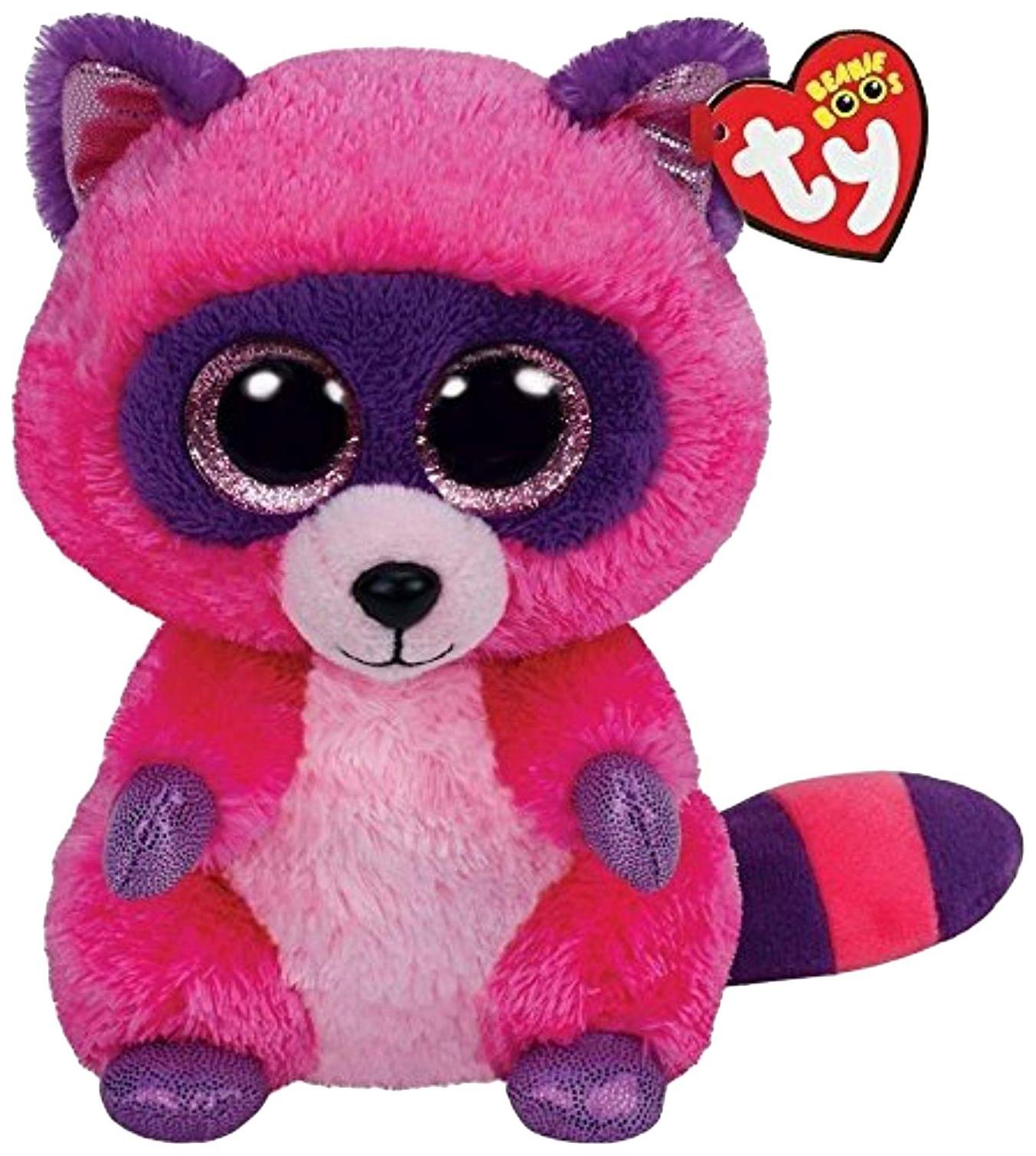Купить Брелок Beanie Boo's Енот Рокси , розово-фиолетовый, 7.6 см Ty Inc, Аксессуары для ранцев и рюкзаков