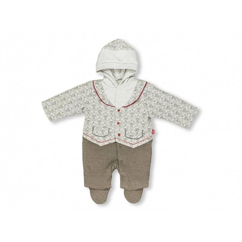 Купить Комбинезон Узоры Лео, цв. бежевый, 74 р-р, Трикотажные комбинезоны для новорожденных