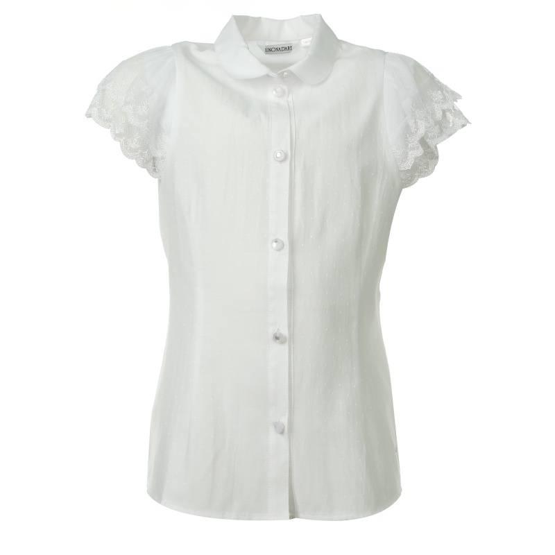 Купить 643, Блузка UNONA D'ART, цв. белый, 134 р-р, Детские блузки, рубашки, туники