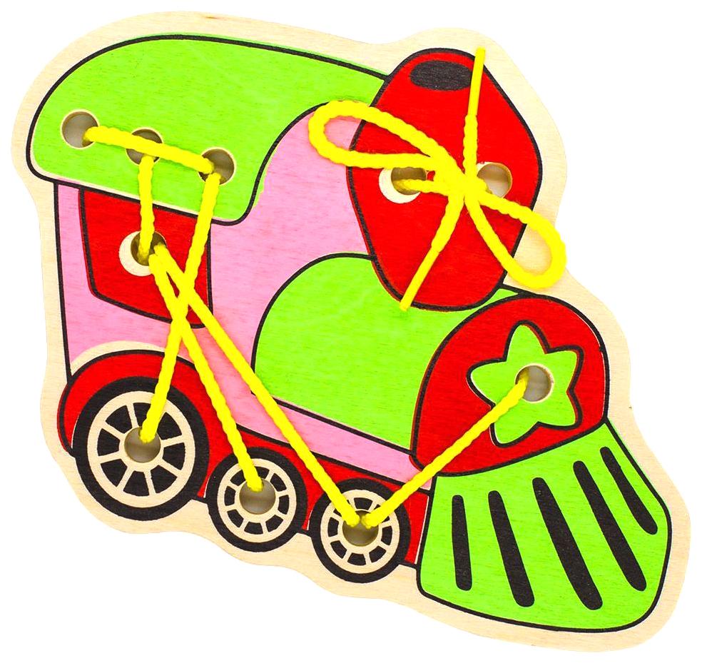 Купить Деревянная Шнуровка Alatoys Поезд, Алатойс, Шнуровки для детей