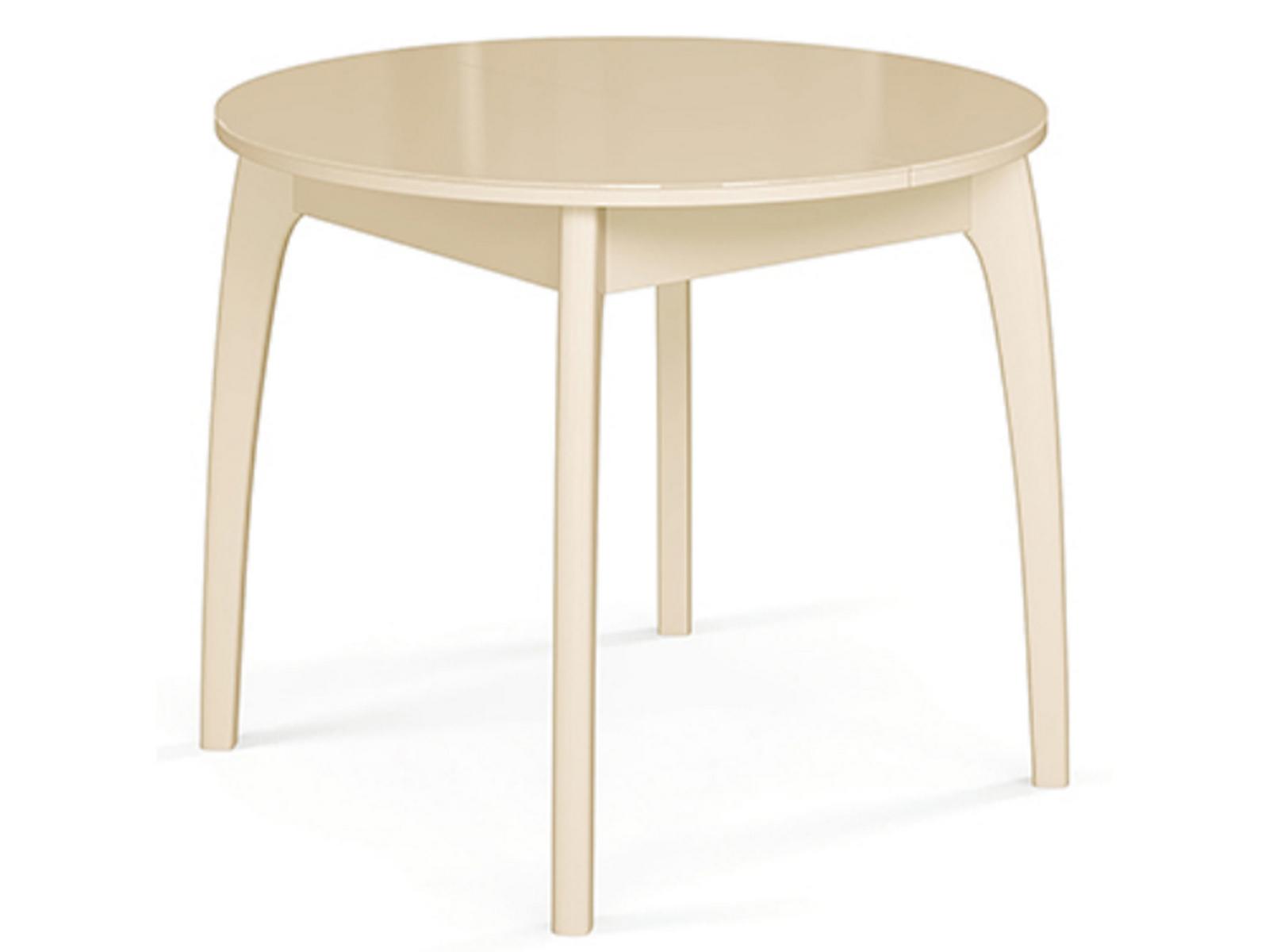 Обеденный стол раздвижной ДИК Стол №46 ДН4 (круглый) Слоновая кость / Стекло бежевое