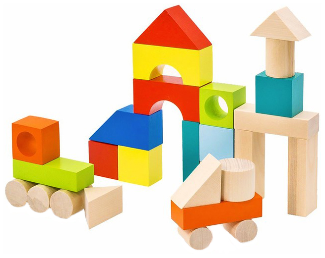 Купить Конструктор деревянный Alatoys Наполовину окрашенный 27 деталей, С-Трейд,