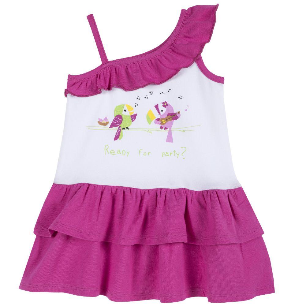 Купить 09003442, Платье Chicco р.092, Птицы, цвет бело-розовый, Платья для новорожденных