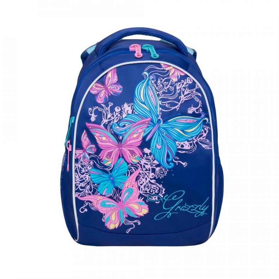 Рюкзак школьный для девочки Grizzly RG-868-4 темно-синий