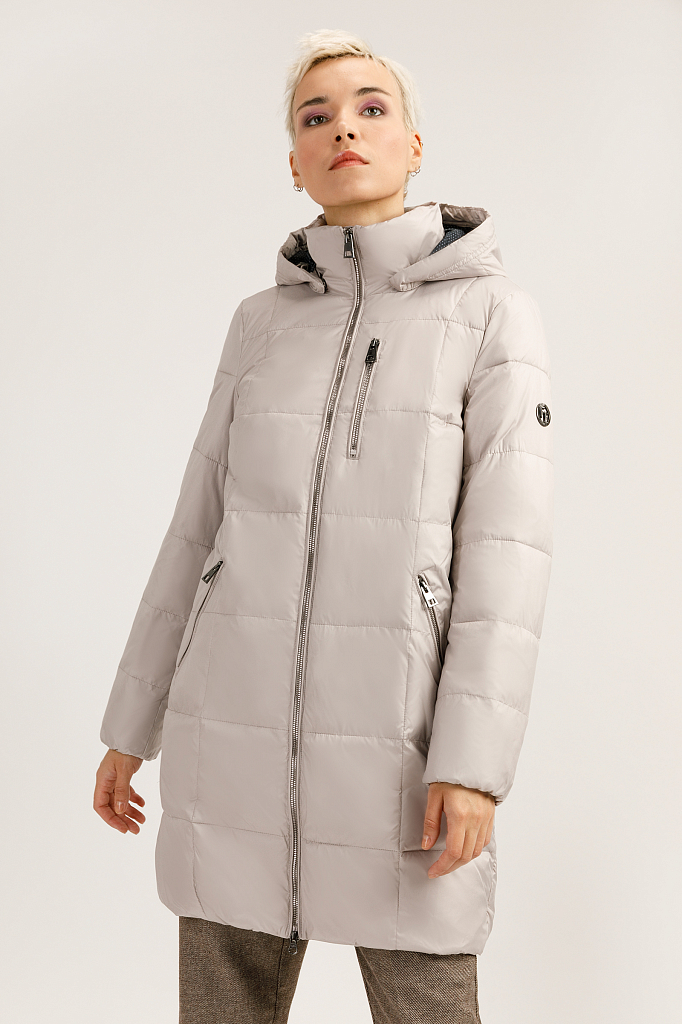 Пальто женское Finn Flare A19-32003 серое S фото