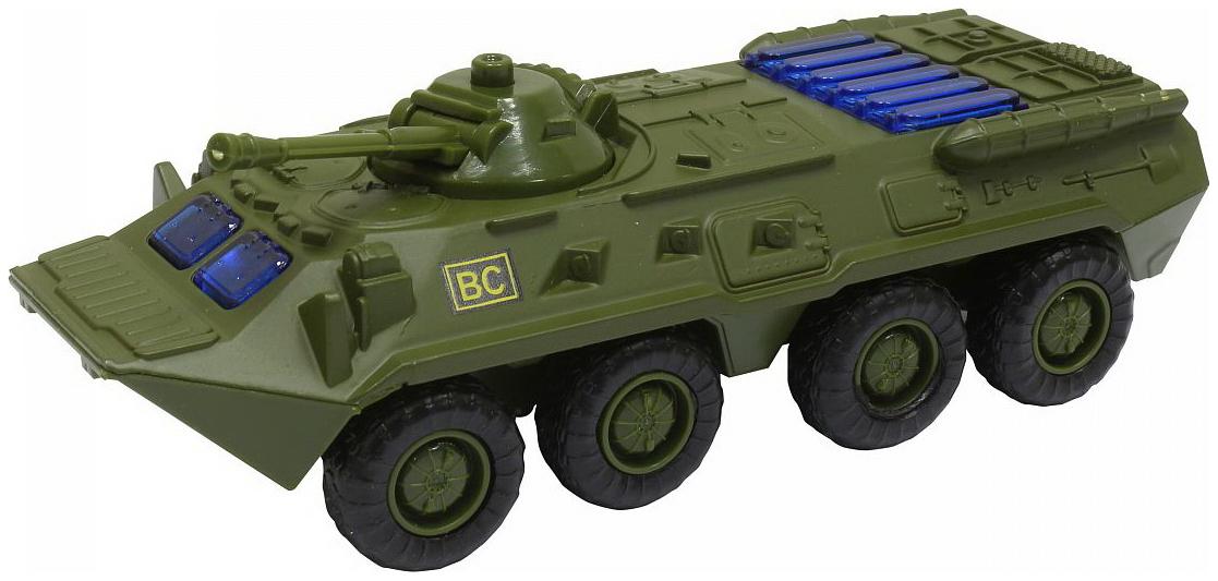 Купить Металлическая машина Автопарк - БТР-80 (свет, звук), темно-зеленая, 1:54 Play Smart, PLAYSMART, Военный транспорт