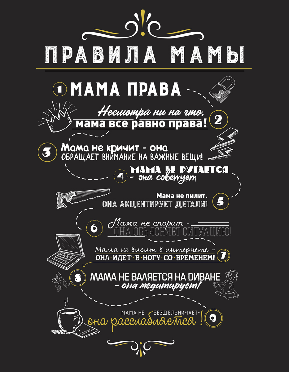 Картина на мдф 30x40 Правила мамы 2 Ekoramka ME-105-275