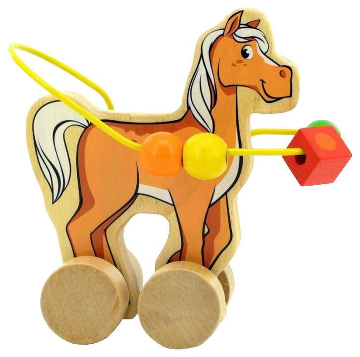Купить Каталка детская МДИ Лошадка пальчиковый лабиринт, Мир Деревянных Игрушек, Игрушечные машинки