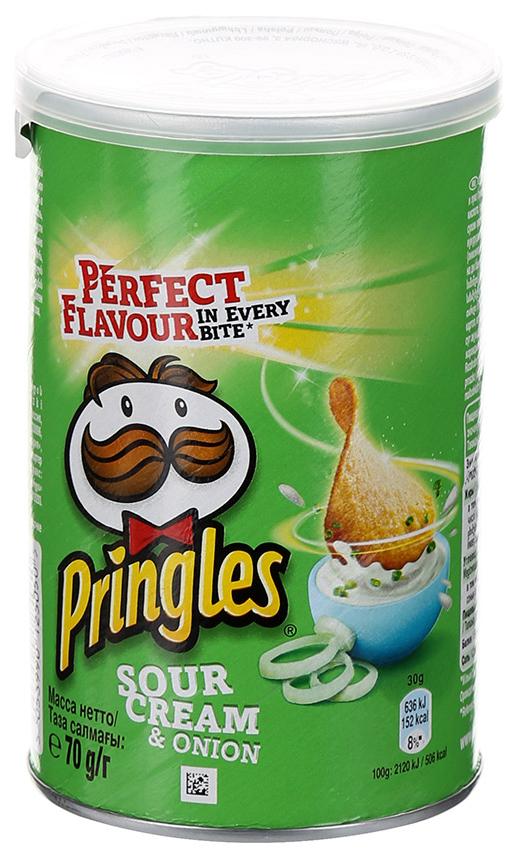 Чипсы картофельные Pringles со вкусом сметаны и лука 70 г фото