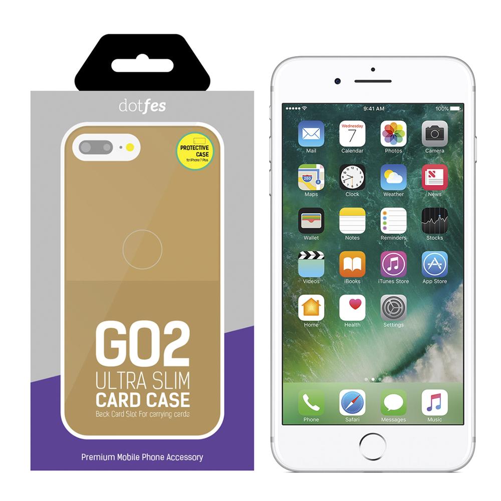Чехол Dotfes G02 Carbon Fiber Card Case для iPhone 7 Plus/8 Plus (gold)