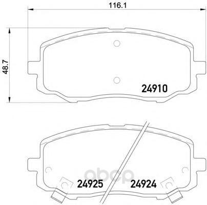 Колодки тормозные дисковые передние hyundai i20 (pb, pbt) 08 - Textar 2491001 фото