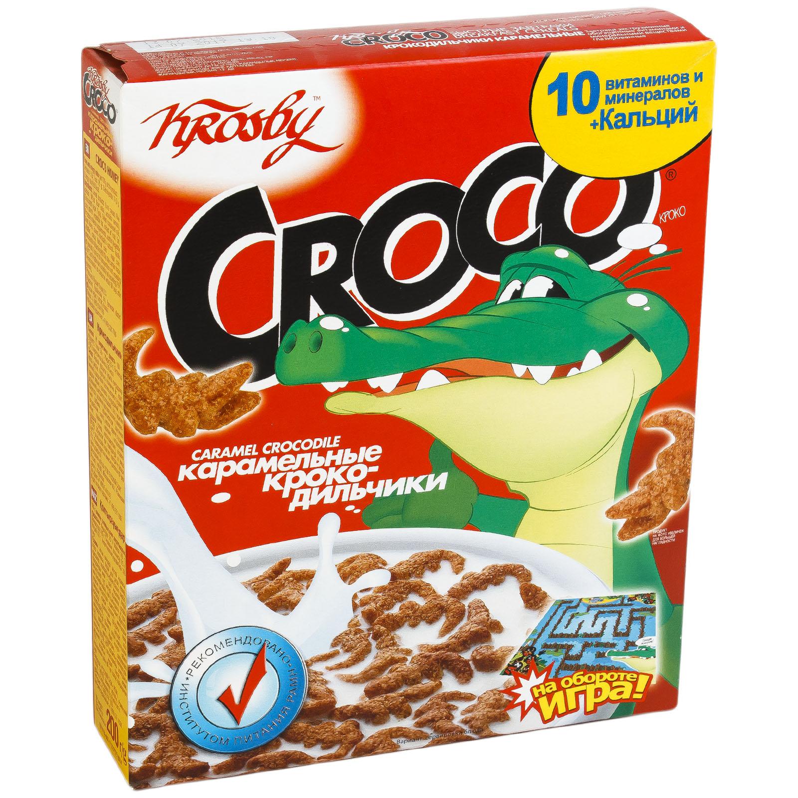 Завтраки сухие Krosby крокодильчики карамельные из зернового сырья 500 г