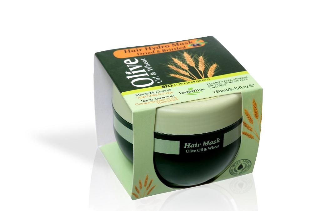 Купить Маска для волос Herbolive с пшеницей для сухих волос увлажнение и питание 250 мл