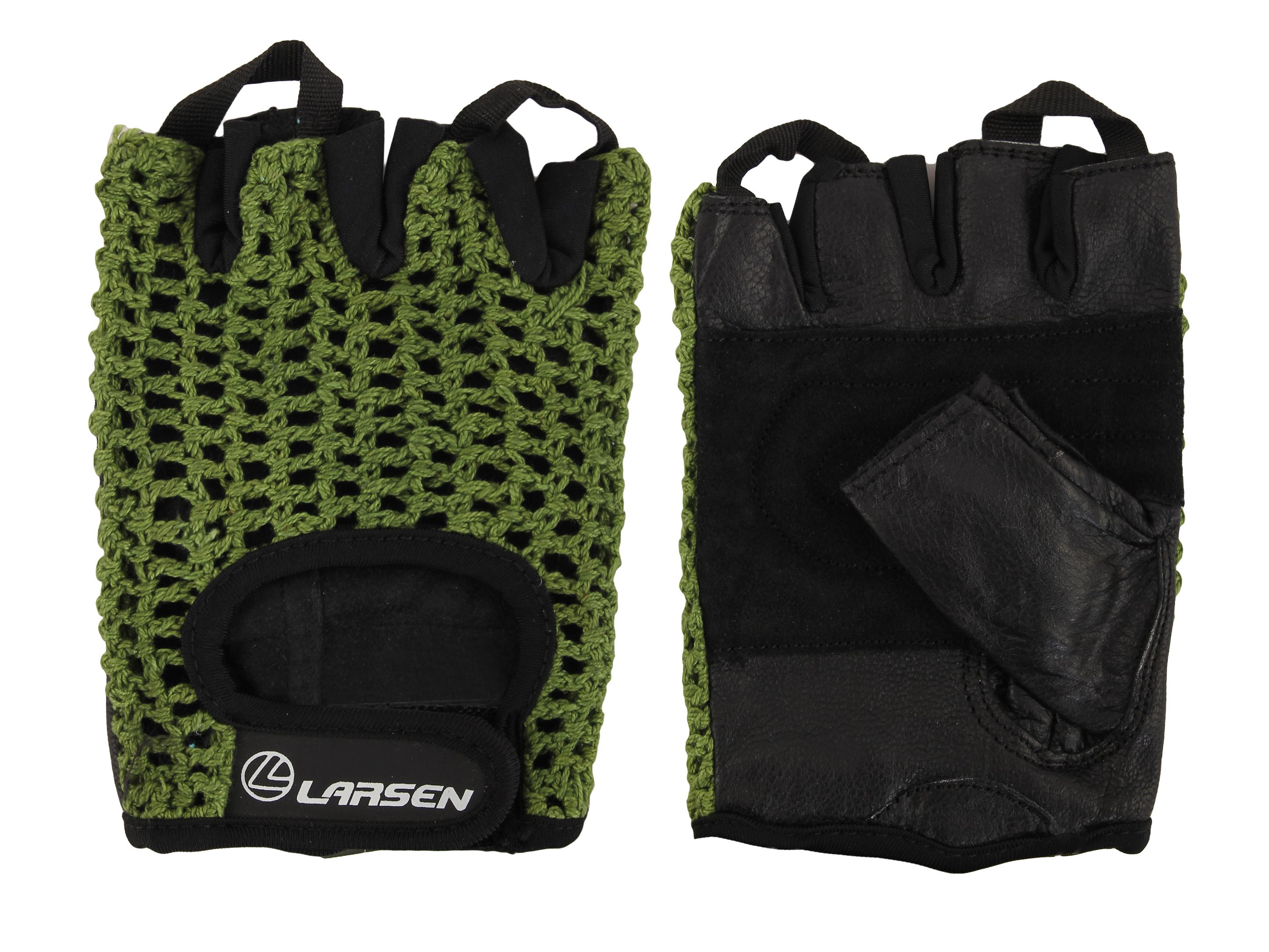 Перчатки для фитнеса Larsen 16 1961, зеленые/черные,