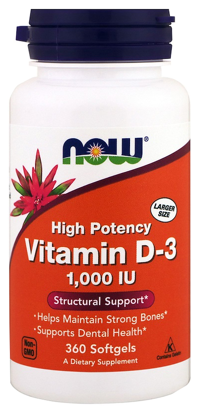 Купить Витамин D NOW Vitamin D-3 1000 Me 360 капс.