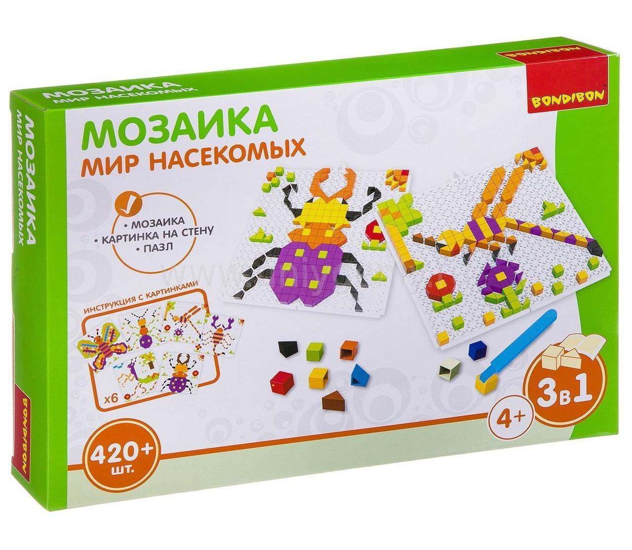 Купить Мозаика Bondibon Мир насекомых 420 деталей, Мозаики