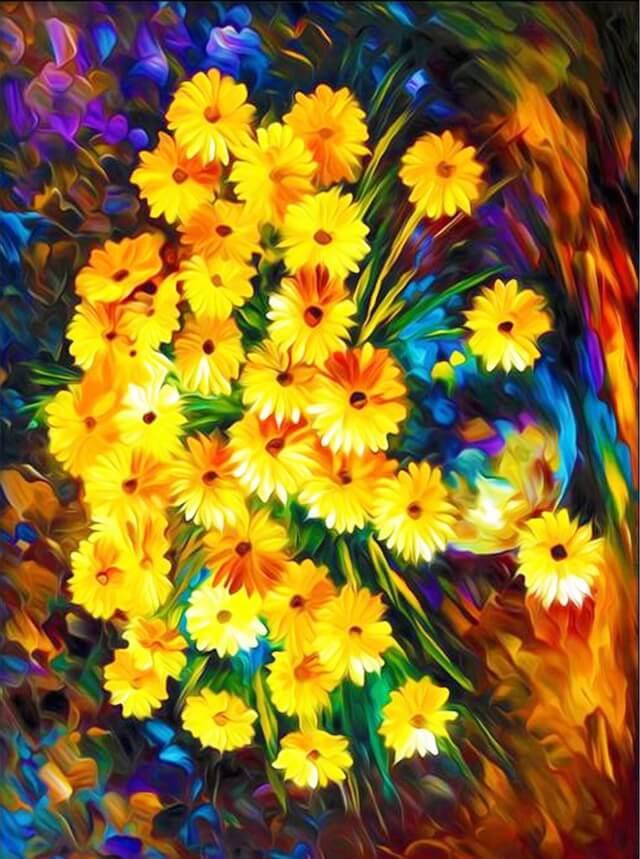 Алмазная живопись Цветной LG008 «Букет осенних хризантем»