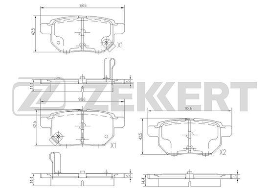 Комплект тормозных колодок, дисковый тормоз ZEKKERT BS-1973