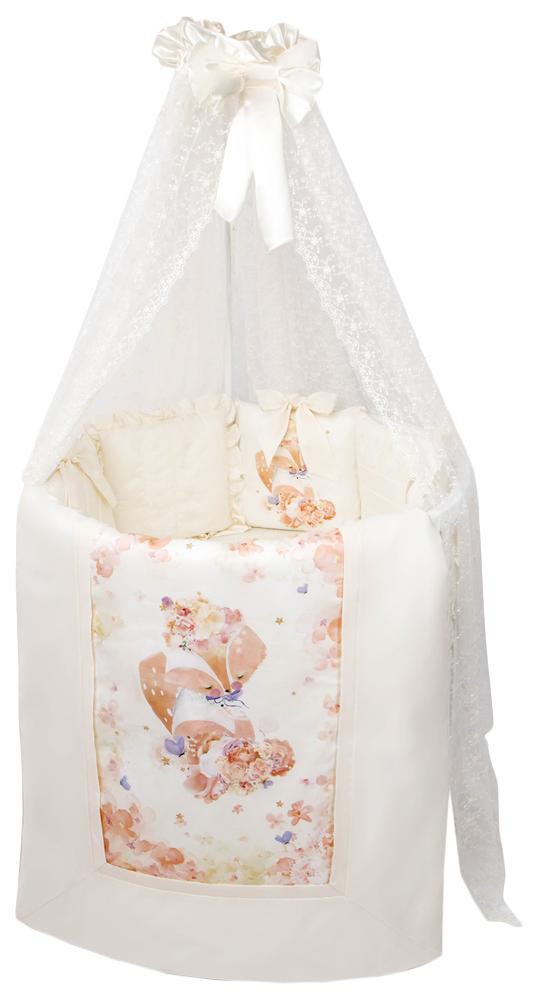 Балдахин ЗОЛОТОЙ ГУСЬ Кружевной в детскую кроватку, молочный 3661