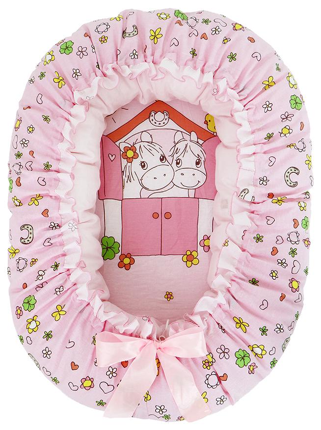 Подушка-валик-гнездо ЗОЛОТОЙ ГУСЬ Лошадка ( розовый) 8206