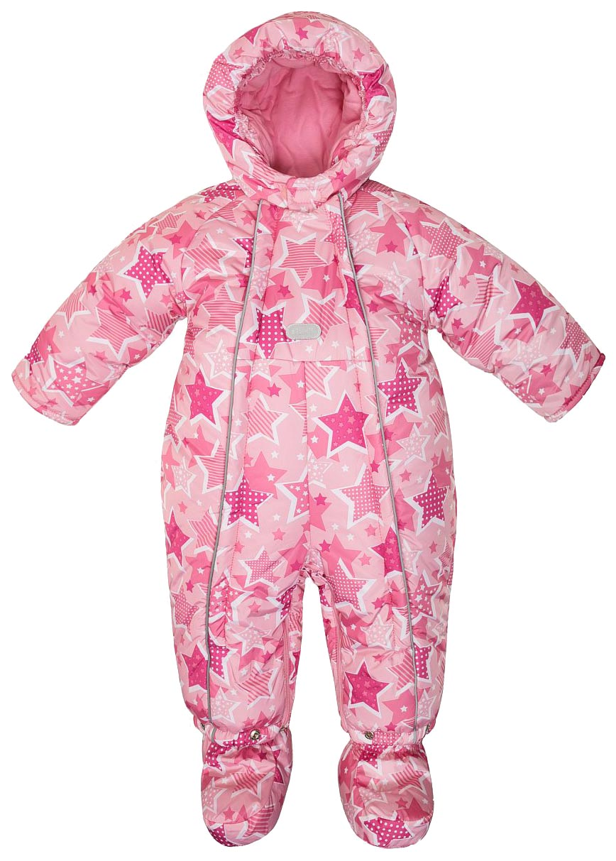 Купить W18G1002P, Комбинезон с башмачками зимний для девочки Barkito, розовый с рисунком звезды р.62, Детские комбинезоны зимние