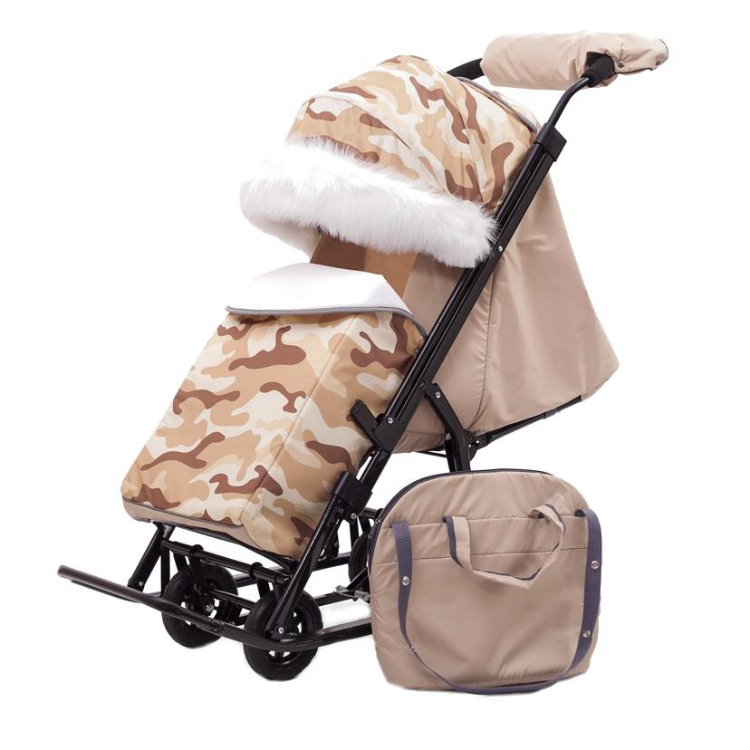 Купить Санки-коляска Pikate Military Бежевый, Санки складные