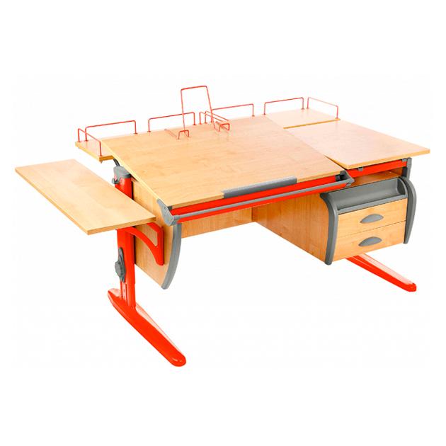 Парта Дэми СУТ 17-05 120 см+ приставки+боковая приставка+ тумба, клен, оранжевый, фото