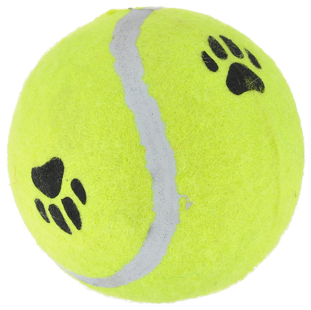 Апорт для собак Beeztees Мяч теннисный с лапкой в ассортименте 10 см.