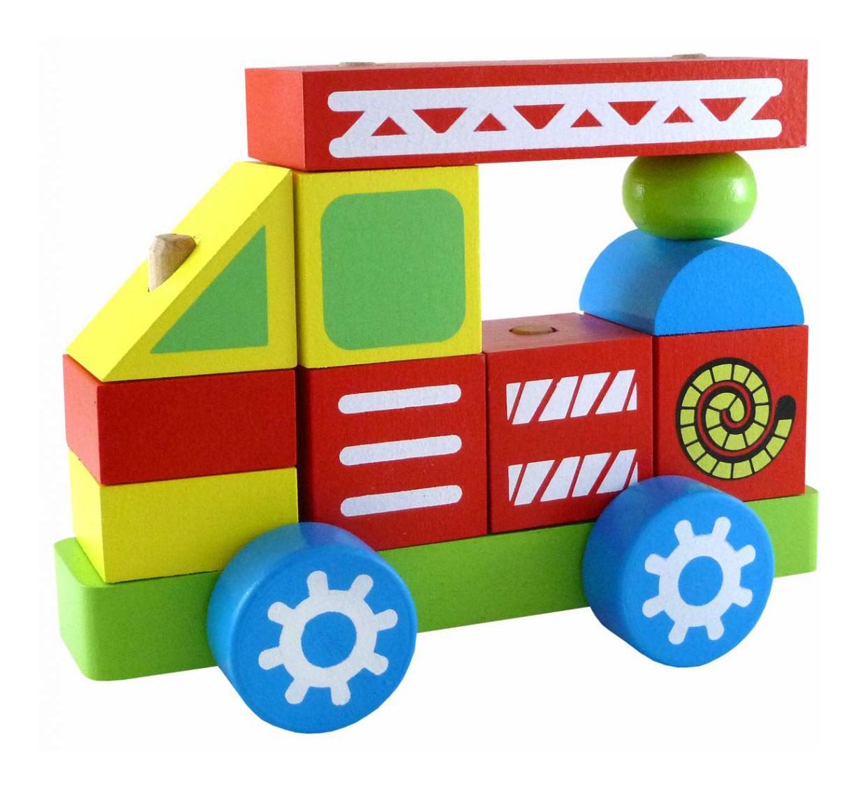 Купить Пожарная машина, Конструктор деревянный Alatoys Пожарная Машина, Алатойс,