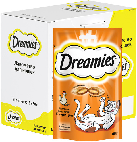 Лакомство для кошек Dreamies, подушечки с курицей, 6 шт по 60г фото