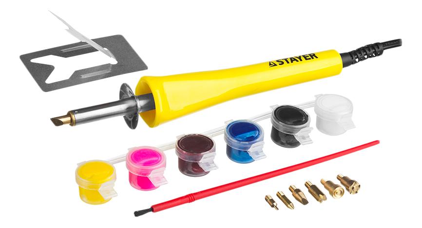 Купить 45220, Прибор Stayer MASTER для выжигания с набором насадок 7шт и красками,
