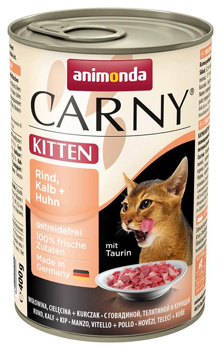 Консервы для котят Animonda Carny Kitten, говядина, курица, кролик, 400г фото
