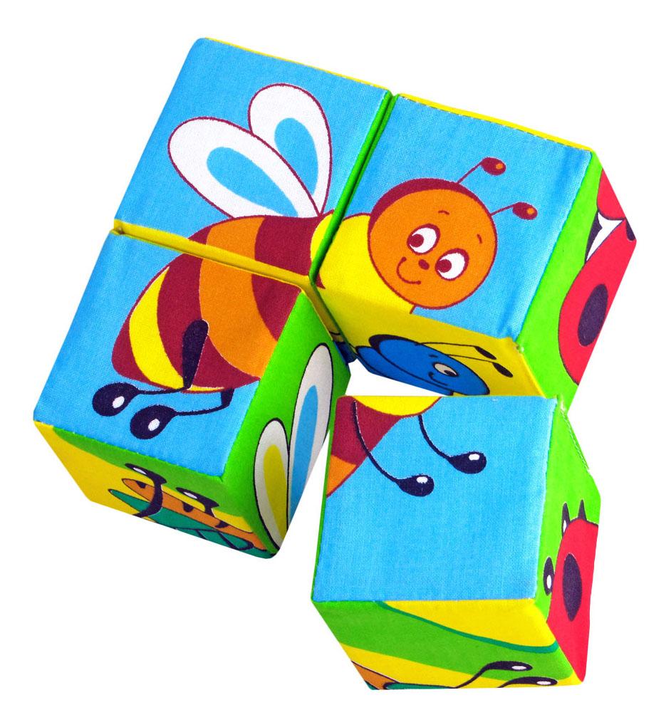 Купить Детские кубики Мякиши Собери картинку Насекомые, Развивающие кубики
