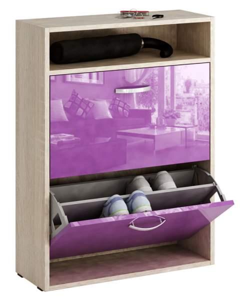 Обувница MFMaster Милан-25 МСТ-ОДМ-25 60х22,2х88,2 см, дуб сонома/фиолетовый глянец