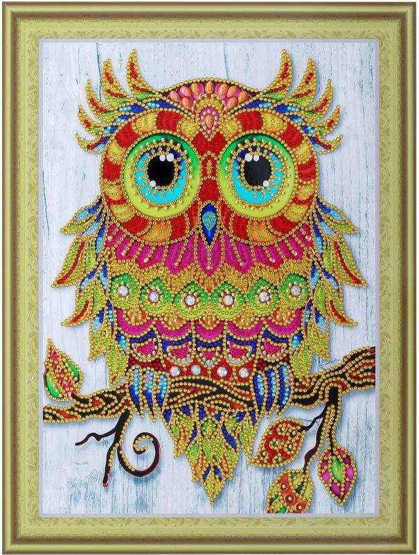 Веселый совенок- алмазная картина с фигурными стразами