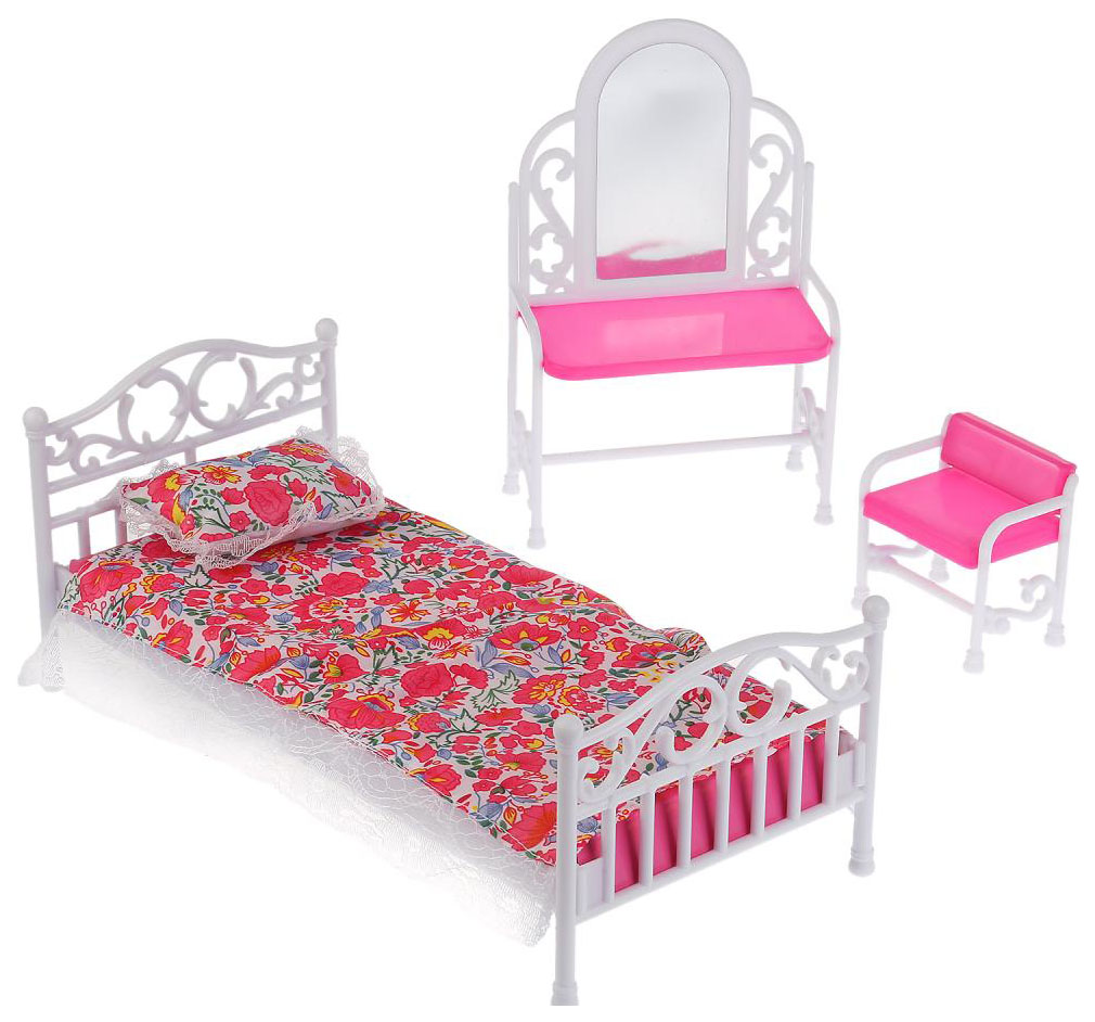 Игровой набор мебели: кровать и туалетный столик,